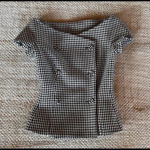 Christian Dior Houndstooth Off-the-Shoulder Jacket